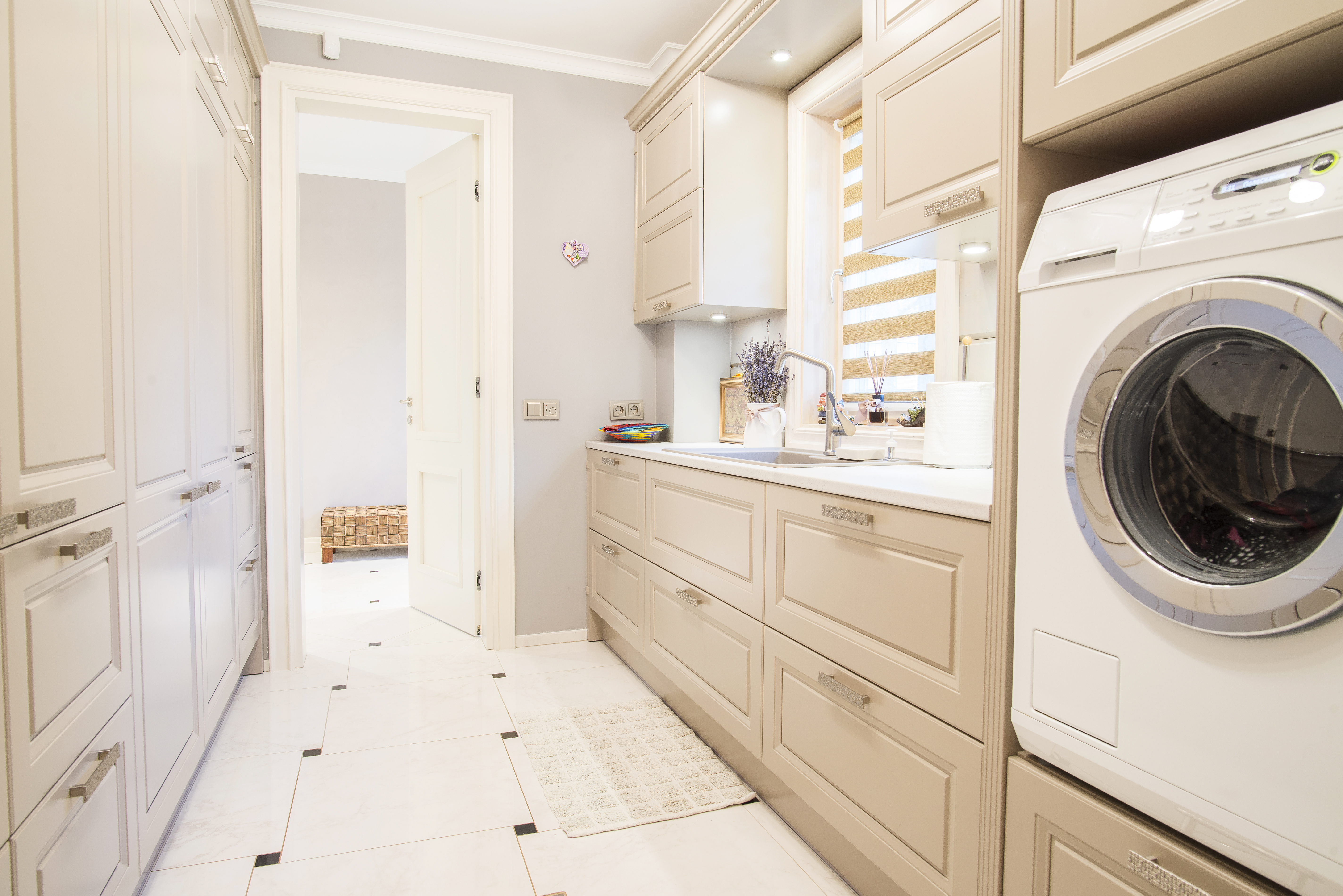 Modern log wood house laundry room interior